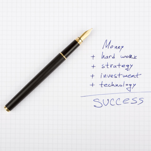 """Ink pen on the paper with some business quotes"" stock image"