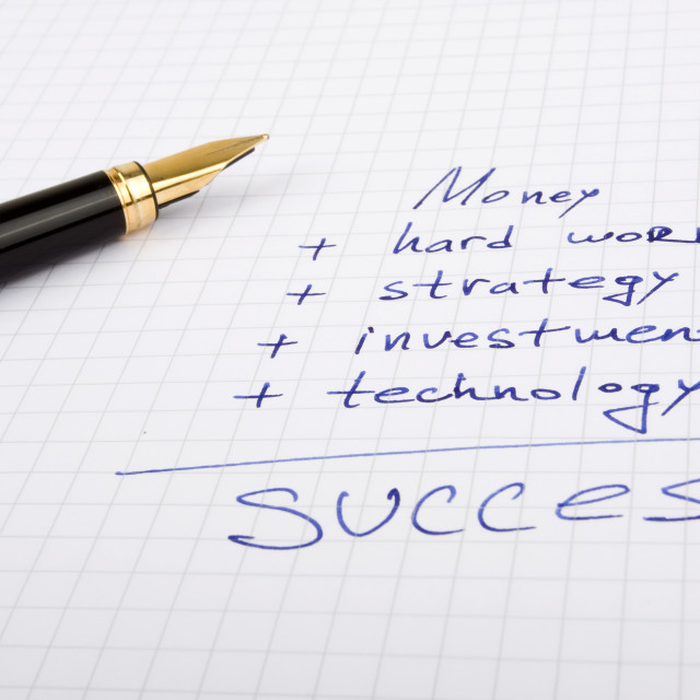 """""""Ink pen on the paper with some business quotes"""" stock image"""