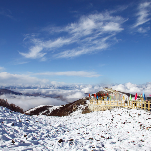 """""""View Point from the peak of Snow Mountain"""" stock image"""