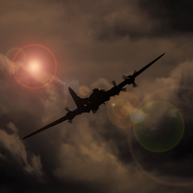 """B-17 in the clouds"" stock image"