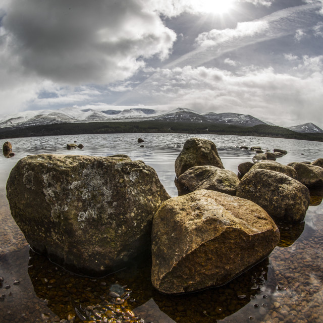 """Rocks in a Loch"" stock image"