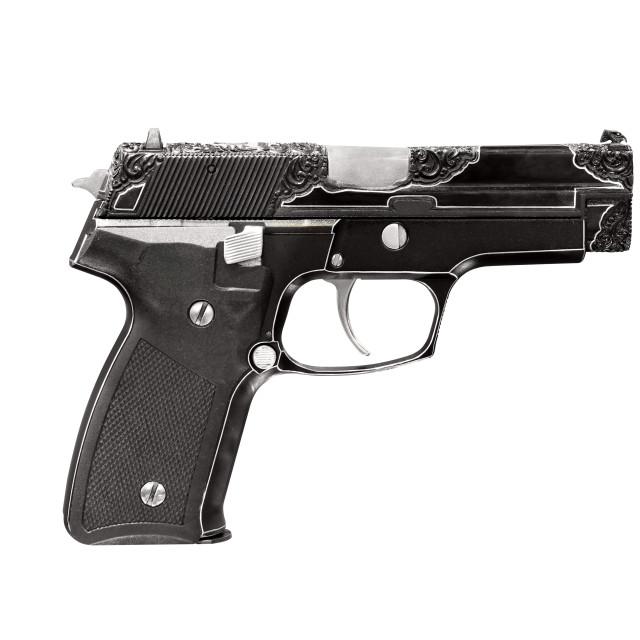 """engraving gun isolated on white"" stock image"