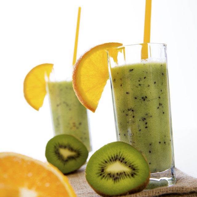"""Fresh fruit smoothie...double glass"" stock image"
