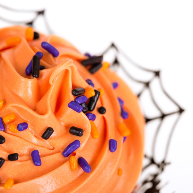 """Closeup of Halloween cupcake"" stock image"