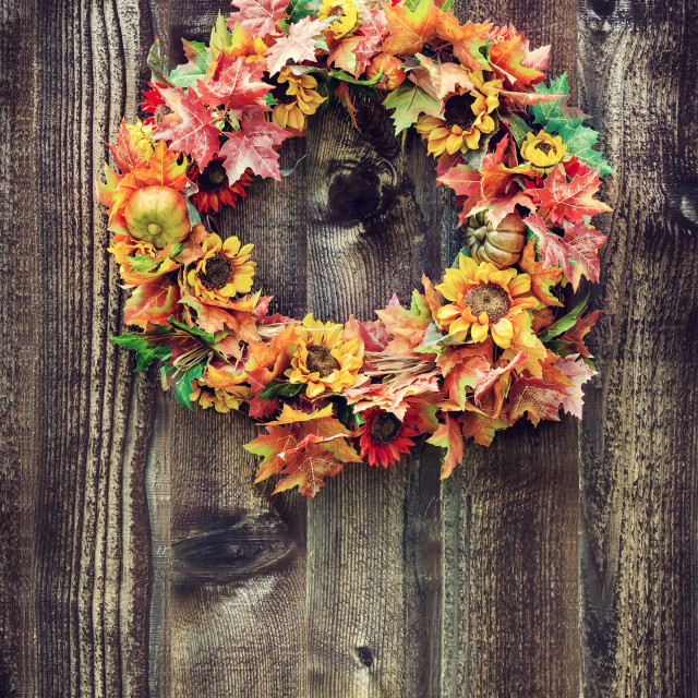 """Autumn flower wreath against wood planks"" stock image"