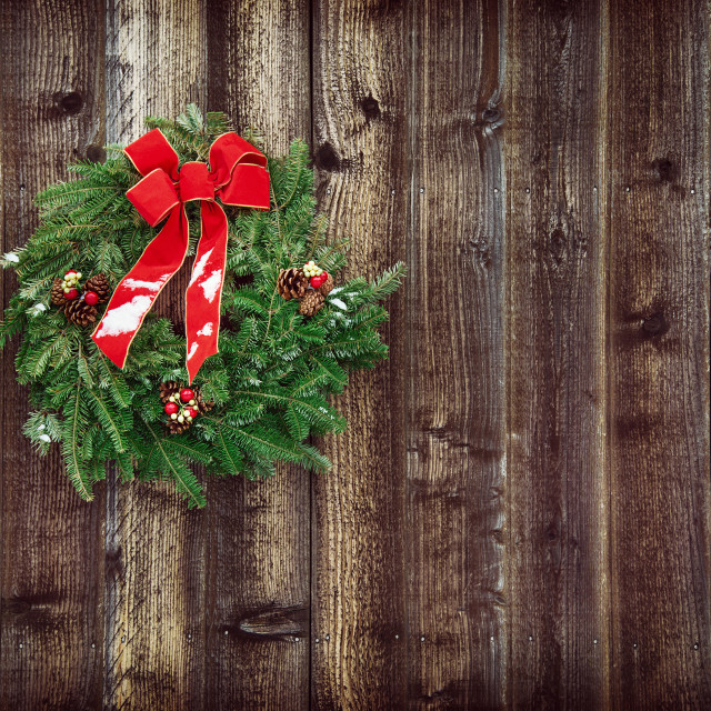 """""""Christmas wreath against rustic wooden background"""" stock image"""