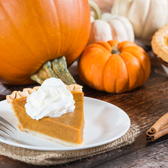 """Slice of a pumpkin pie and pumpkins on the background"" stock image"