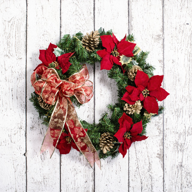 """""""Christmas wreath against white wooden background"""" stock image"""