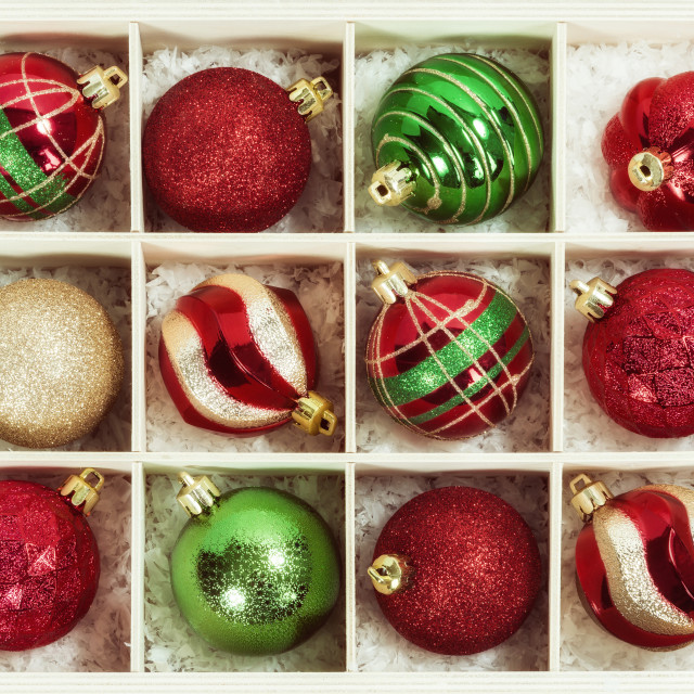 """""""Christmas Ball Ornaments in a wooden box"""" stock image"""