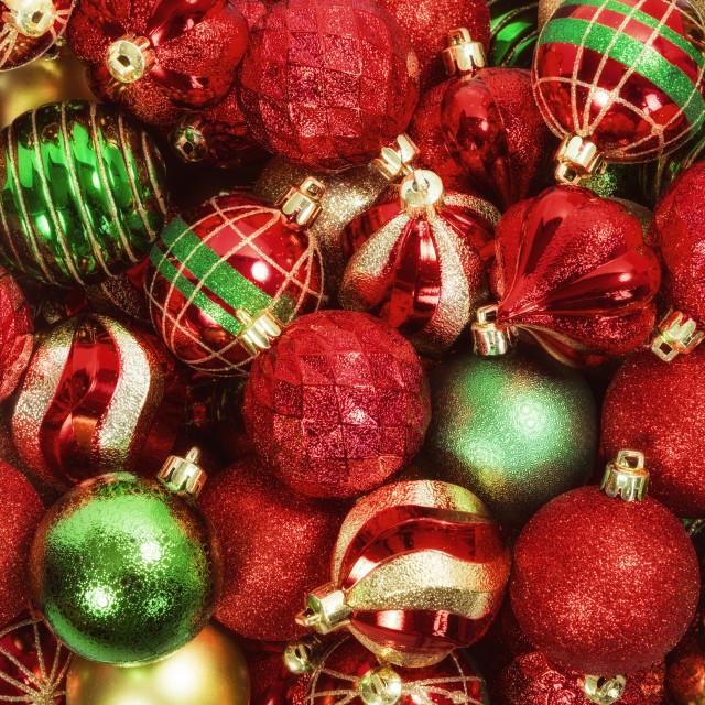 """Mix of Christmas Ball Ornaments"" stock image"
