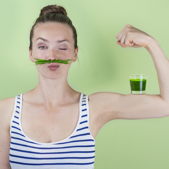 """Super wheat grass power!"" stock image"