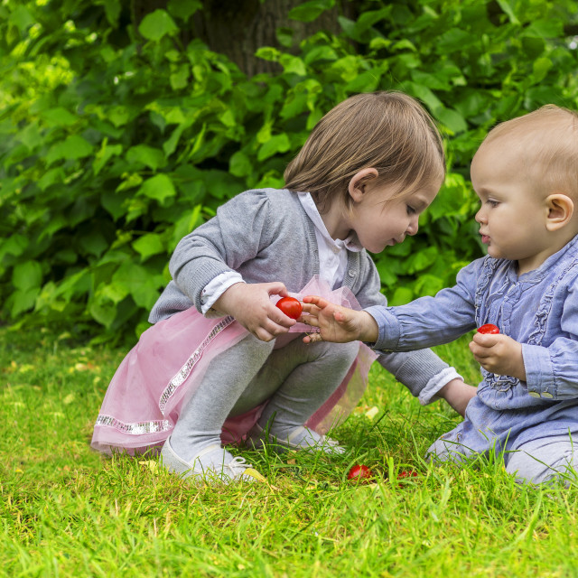 """Adorable children playing in the park"" stock image"