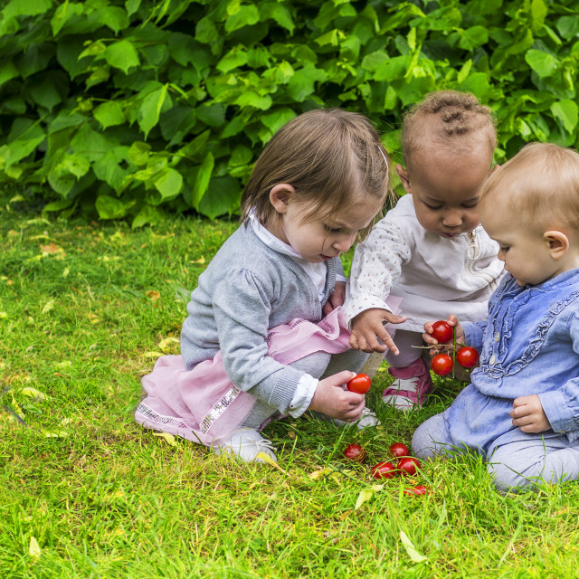 """Three little girls playing in the garden"" stock image"