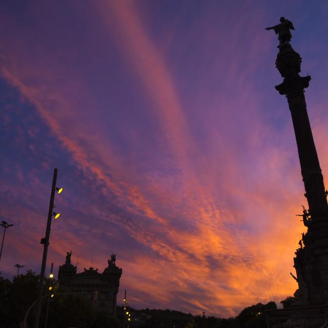 """""""Columbus in Barcelona"""" stock image"""