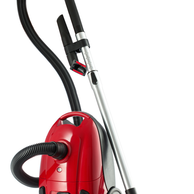 """""""Red Vacuum Cleaner isolated on white background"""" stock image"""
