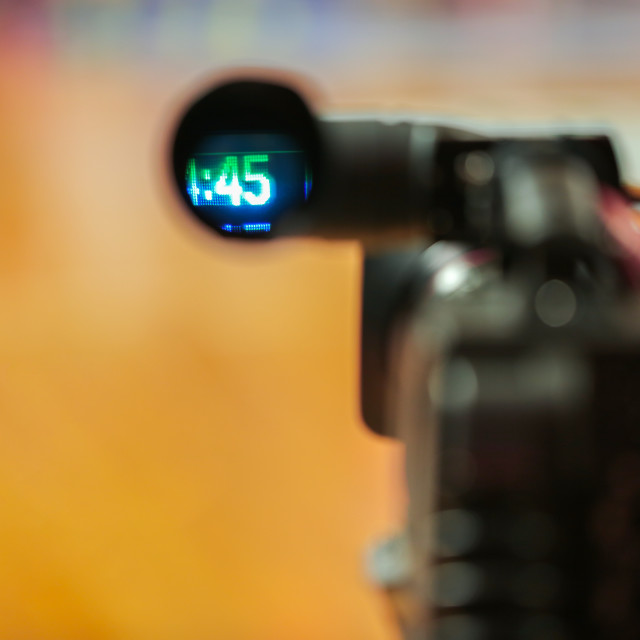 """""""Professional video camera viewfinder recording"""" stock image"""