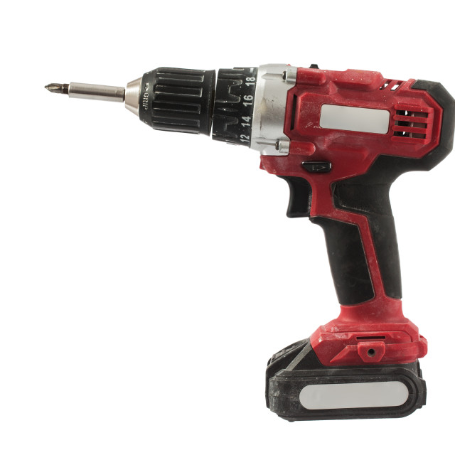 """Cordless screwdriver or power drill isolated on a white background"" stock image"