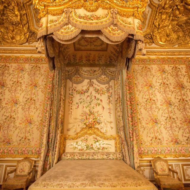 """Interior of royal bedroom at Palace of Versailles"" stock image"