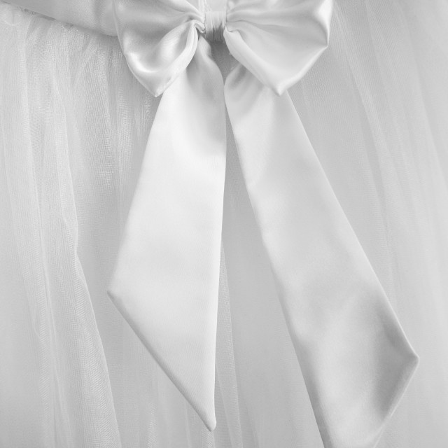 """Closeup of back of wedding dress detail"" stock image"