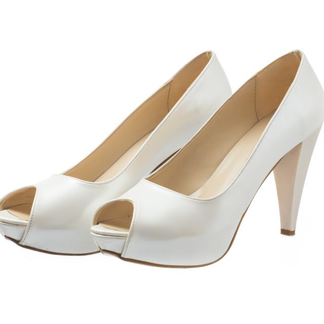 """""""Ivory female wedding shoes isolated over white background"""" stock image"""