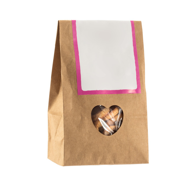 """""""Paper bag with bio food inside isolated"""" stock image"""