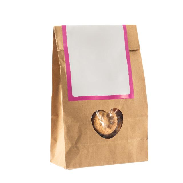 """Paper bag with bio food inside isolated"" stock image"