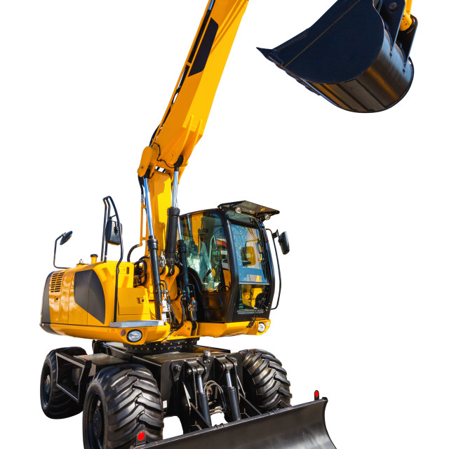 """""""New and modern yellow excavator machines isolated on white"""" stock image"""