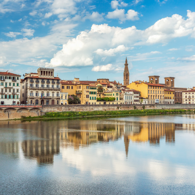 """""""View of Ponte Vecchio with reflections in Arno River, Florence, Italy"""" stock image"""