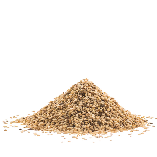 """""""Pile of Sesame or Til Seeds isolated on white background"""" stock image"""
