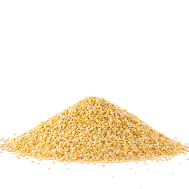 """Pile of quinoa seeds isolated on a white"" stock image"