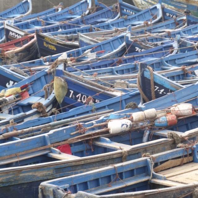 """Blue fishing boats Essaouira Morocco"" stock image"