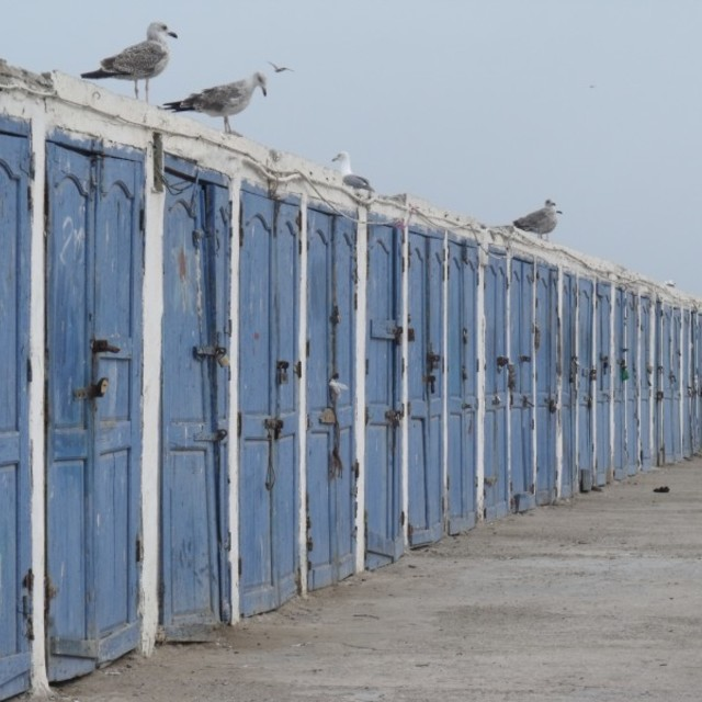 """Blue Doors Essaouira Harbour Morocco"" stock image"
