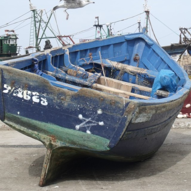 """Blue fishing Boat Essaouira Morocco"" stock image"
