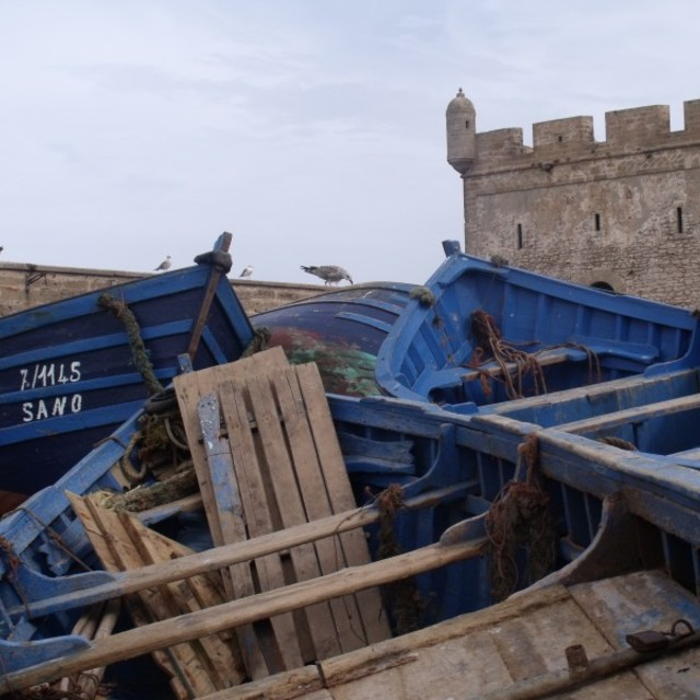 """""""Fort and blue boats Essaouira Morocco"""" stock image"""