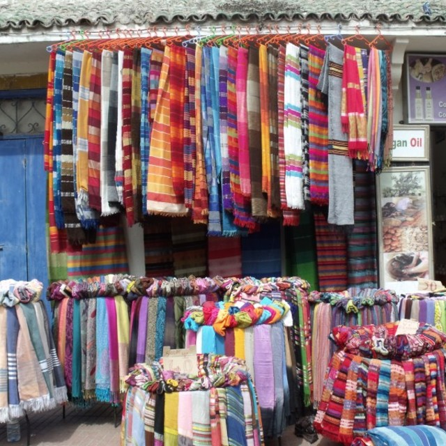 """Scarf and throw shop Essaouira Morocco"" stock image"