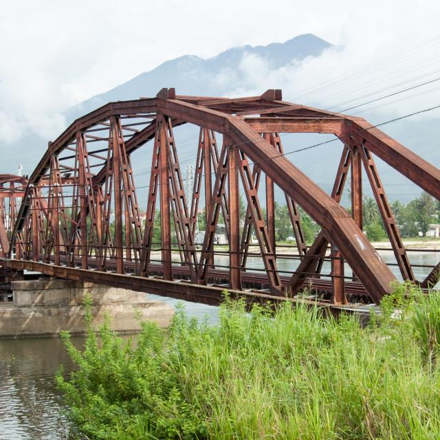 """""""Red bridge for the train in Da Nang"""" stock image"""