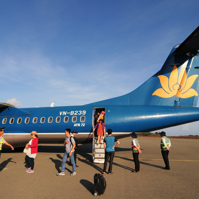 """Vietnam Airlines plane taxis in Con Dao island"" stock image"