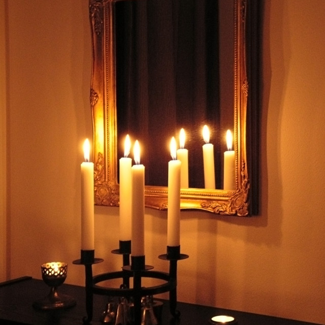 """Candles and mirror"" stock image"