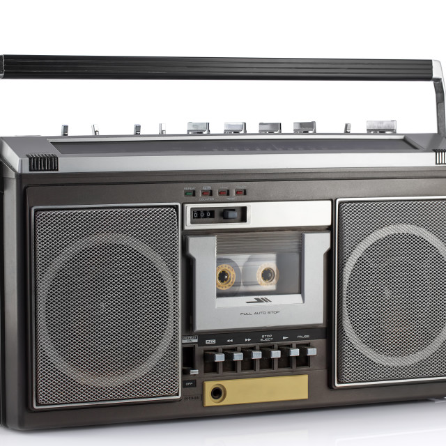 """""""Retro ghetto blaster isolated on white with clipping path"""" stock image"""