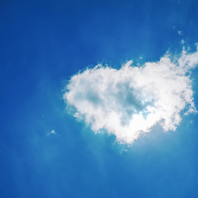 """""""Heart shaped cloud in the blue sky"""" stock image"""