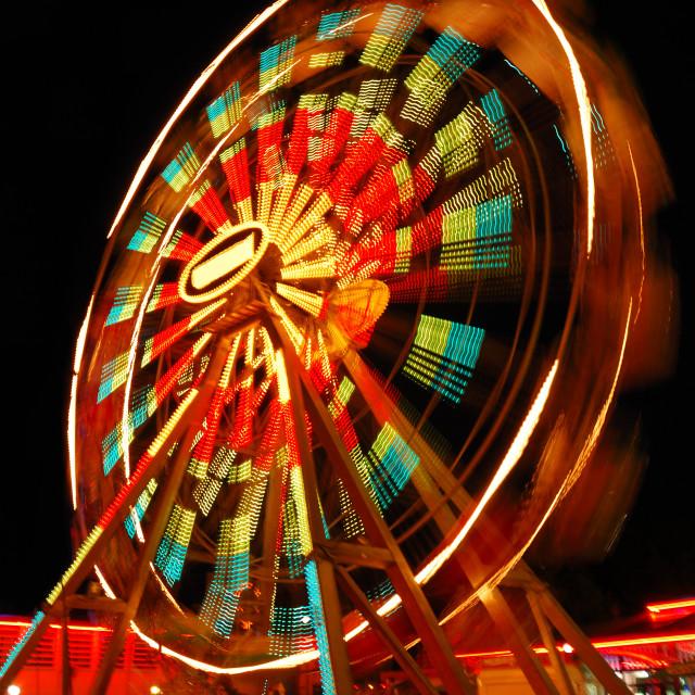 """Ferris Wheel at night"" stock image"