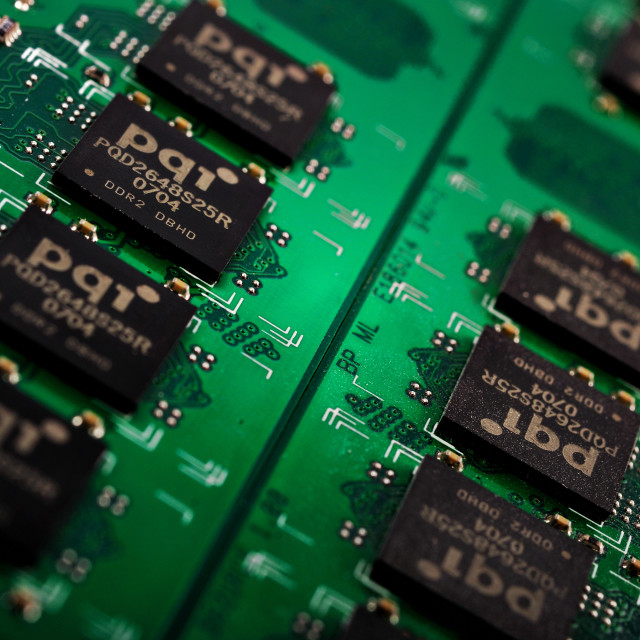 """""""Green Computer Chip Technology close up"""" stock image"""