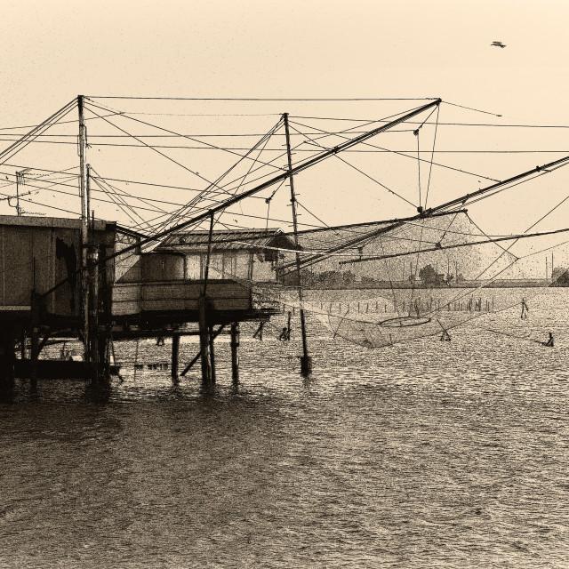 """Trabocco fishing house for fishing Comacchio Italy"" stock image"
