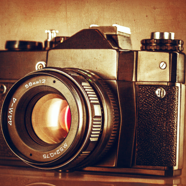 """""""Abstract textured image of vintage camera"""" stock image"""