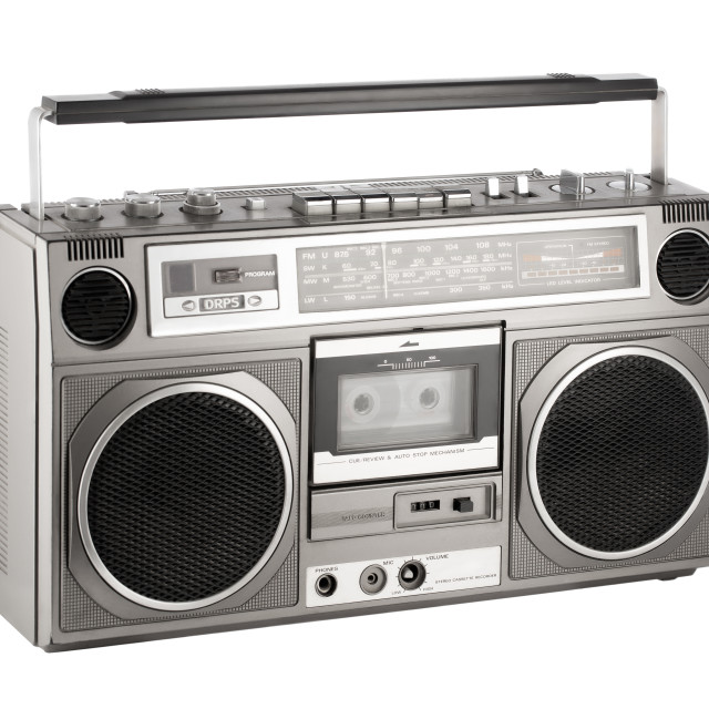 """Retro ghetto blaster isolated on white with clipping path"" stock image"