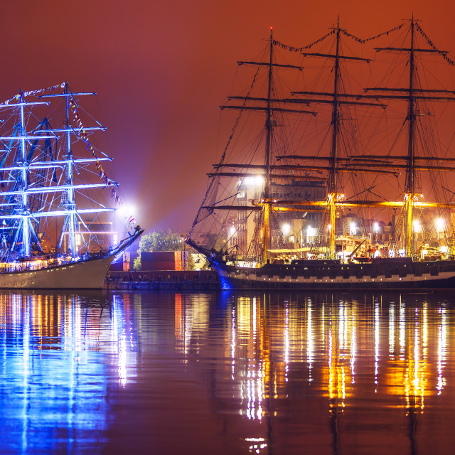 """Night view of Tall Ships Regatta"" stock image"