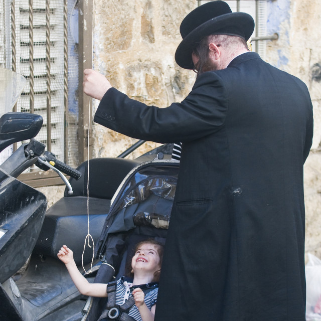 """Jewish ultra orthodox family"" stock image"