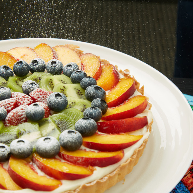 """Healthy Tasty Cake with Fruits and Sugar on Top"" stock image"