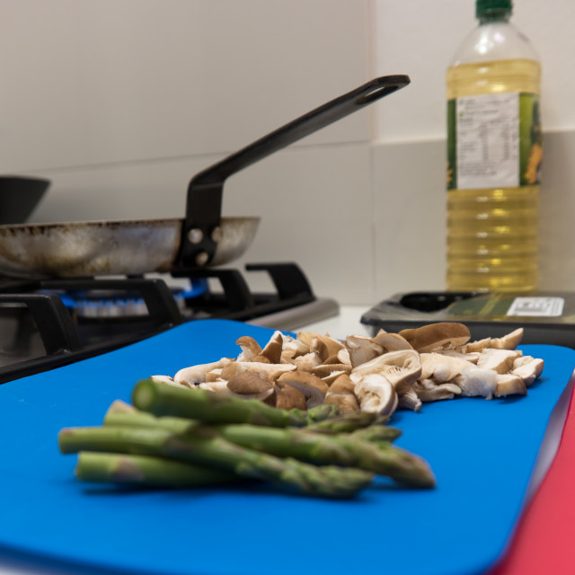 """Healthy fresh asparagus spears and mushrooms"" stock image"
