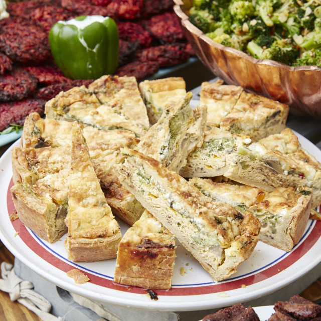"""Quiche on display at a farmers market"" stock image"